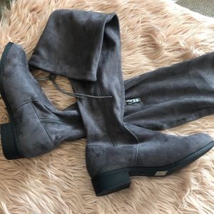 Nature Breeze Womens Thigh High Tie Back Faux Suede Boots Block Heel